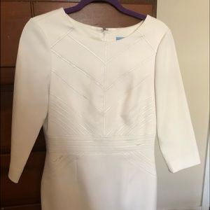 White three quarter sleeve work dress